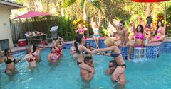 Join a crazy party with big sluts having fun near the pool
