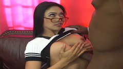 Four eyed Mika Tan gives blowjob and tits job