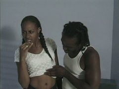 Ebony girlie with braids Perris gives a stout blowjob to black tasty cock
