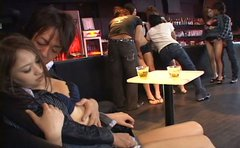 Horny teen Japanese chicks by the bar are willing to fuck in orgy