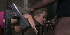 Zesty nympho Holly Heart gets drilled in mouth and vagina simultaneously