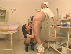 Nasty brunette girlie gives head to her doctor after gyno checkup