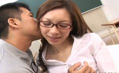 Whorish teacher Asahi Miura gets fucked in a lecture room