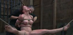 Dirty hooker Catherine de Sade gets tied up and crucified in the shed