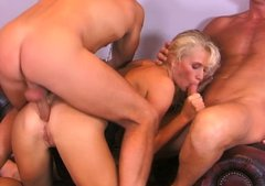 Svelte milf Gabriella Tchekan gets ass fucked in tempting group sex video