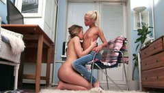 Young blonde lesbian chick Cybill gets naughty with her GF