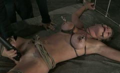 Blonde Felony has her tits tied and pulled with claws