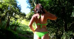 Bootylitious chick wearing green bikini gives head on POV video