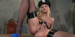 Sultry blonde police officer Chary Kiss gets fucked at the police station