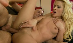 Astonishing blonde beauty Chary Kiss sucks and rides one dick with her butt