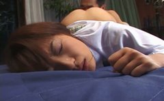 Irritating college chick Ryoko Saegusa gives blowjob and fucks doggy style