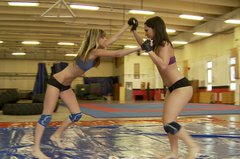 Fresh latina Sandra Rodriguez and delicious blonde teen wrestling
