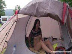 Masturbating in the tent on a camping trip