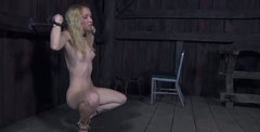 Tricky blonde whore Nicki Blue performs hardcore BDSM action on a high level