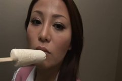 Being stuck in the elevator horny Yoko Matsugane gets rid of clothes