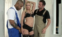 Luxurious blonde sexpot Jessie Volt seduces two cocky guys