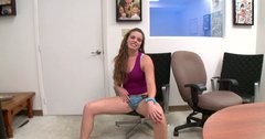 Curly girl Tanya Letyte spreads her legs wide and digs her fingers inside