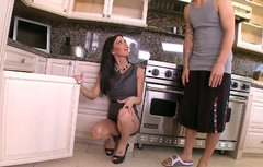 Slutty neighbour Jessica Jaymes fucks my nephew at my house