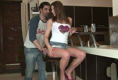 Amazing brunette Mona Lee sucks big long dick on her knees