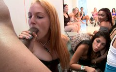 Huge cowboy stripper is invited to the house party of horny chicks