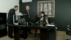 Alluring bitch Aletta Ocean blows two cops' cocks