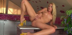 Incredible hot blond bitch Sophie Moone masturbates on the kitchen table