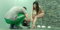 Foot worship session of dainty brunette Ann Marie La Sante