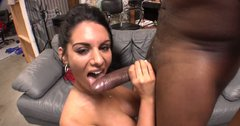 Hungry for cock brunette Bella Reese sucks the long black dick deepthroat and rides it passionately