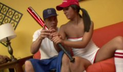 Baseball player Audrianna Angel enjoys giving a solid blowjob for cum