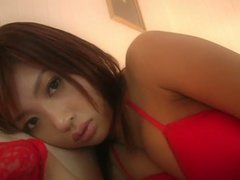 Alluring Japanese hoe Kana Tsugihara shows off her sexy body wearing seductive red lingerie