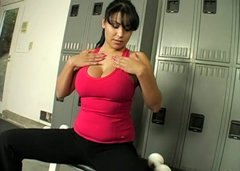Buxom sporty chick Sophia Lomeli has nothing against sucking the trainer's cock