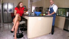 Dirty cougar slut Sky Taylor seduces a cook and fucks him right in the kitchen
