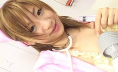 Shiny pale skin chick Iruka Sakana gets her hairy poon stimulated
