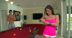 Rachel Roxxx play pool and gives a head when she loses the game