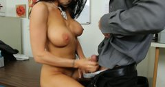 Busty brunette office slut Romi Rain blows dick of her colleague