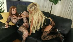 Insatiable babe Lana Blond in fishnet lingerie plays with blonde chick