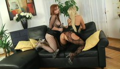 Lana Blond fucks her blonde girlfriend with a dildo in the ass