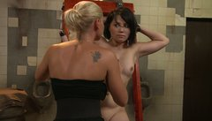 Freaky blonde milf Kathia Nobili plays BDSM games with Adelaida