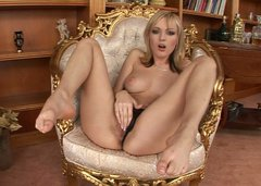 Bianca Golden goes wild on  gorgeous chair and licks her feet