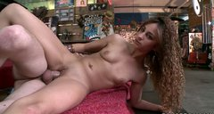 Cute curly chick Janessa Ortiz gets banged doggy on the steps