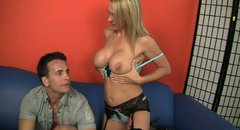Gorgeous blonde milf Tanya Tate gives head to young man Talon