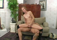 Small titted blonde whore Leah Luv gives blowjob and rides dick