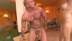 Huge athletic macho really turns on Rio Lee for crazy cock riding