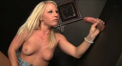 Slutty blondie Kimmy Olsen sucks a delicious tool for cock juice