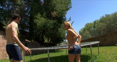Slutty blondie with pigtails Lexi Belle sucks a cock on the trampoline