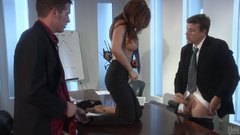 Office slut Kirsten Price blows two dicks in the office and gets double serving of cum