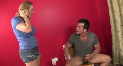 Awesome blonde milf Vicky Vixen gives blowjob to handsome Talon in the toilet