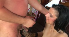 Old brunette cougar Reena gets fingered by horny dude Ryan