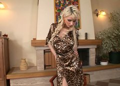 Alexis takes off her leopard gown and shows her big boobs