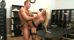 Fierce slut Britney Amber fucks passionately in the office